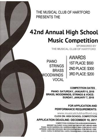 The Musical Club of Hartford Presents the 42nd Annual High School Music Competition