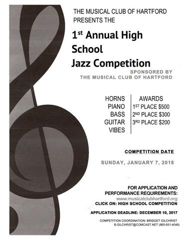 The Musical Club of Hartford Presents the 1st Annual High School Jazz Competition